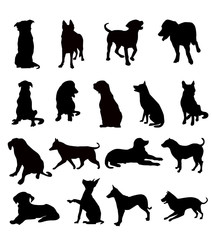 Dog silhouette set