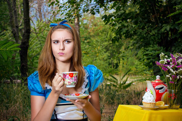 portrait of a girl in the image of Alice in Wonderland