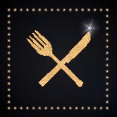 Illustration of a eating restaurant symbol glittering golden