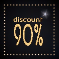 Illustration of a glowing discount symbol glittering golden