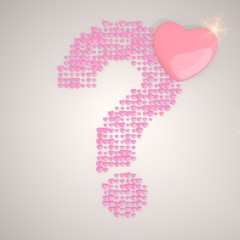3d render of a ? question symbol made of many hearts