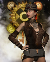 Steampunk Frau vor einem Getriebe