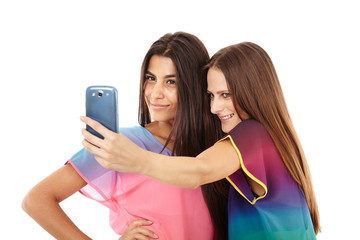Friends taking photos of themselves