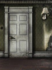 Drzwi w starym pokoju z pajęczynami
