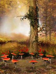Wall Mural - Drzewo i zaczarowany krąg z grzybów