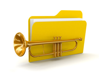 Trumpet with Folder  (clipping path included)