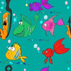 Cartoon Fish.Seamless Texture