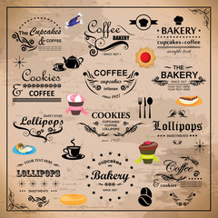 Bakery Design Elements Set - On Beige Background