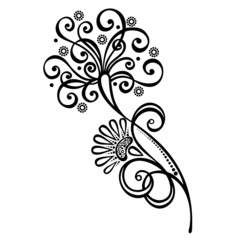 Beautiful Decorative Flower with Leaves (Vector)