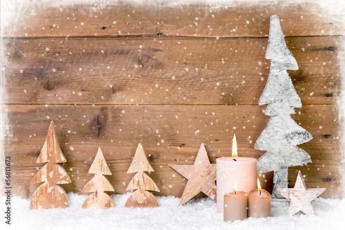 Holz Weihnachtskarten.Weihnachtskarte Rustikal Mit Holz Kerzen Und Schneeflocken