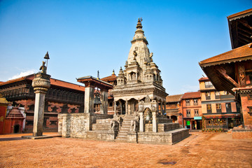 Wall Murals Nepal Temples of Durbar Square in Bhaktapur, Nepal.