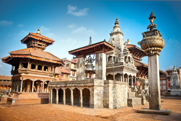 Temples of Durbar Square in Bhaktapur, Nepal.