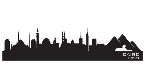 Cairo Egypt skyline Detailed vector silhouette
