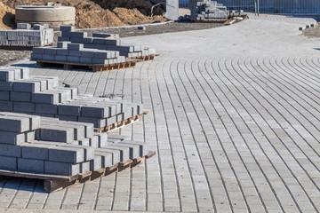 Construction of sidewalk with cobblestones