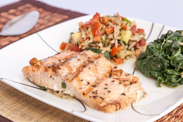 Healty menu - delicious grill Salmon with side dishes