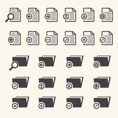 Documents and File Folder icons. Vector