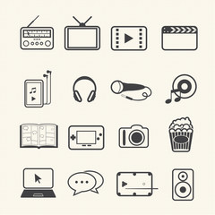 Entertainment icons set on texture background. Vector