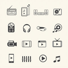 Multimedia and entertainment icons set on texture background. Ve
