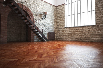 Empty room with rustic finishes