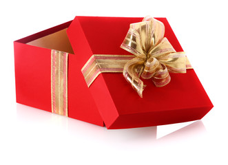 Red gift box with an open lid and golden bow
