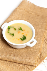 Baked potato cream soup with carrot and cheese