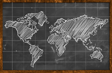 World map chalk drawing blackboard