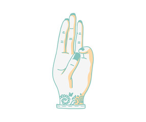 Tattoo hand three gesture/ Vector illustration.