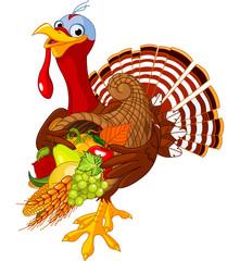 Turkey with cornucopia