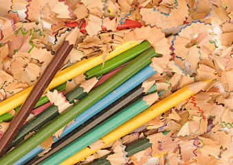 heap of color pencil shaves isolated on white background. Back t