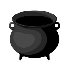 Black witches cauldron. Vector illustration.
