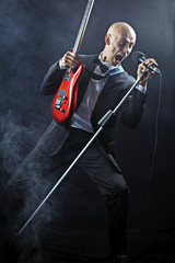 Screaming singer guitarist color image