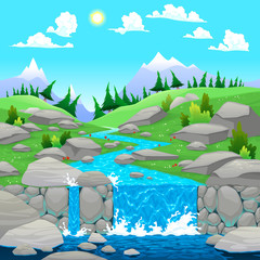 Poster Turquoise Mountain landscape with river.