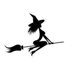vector silhouette of Witch flying on broom.
