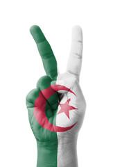 Hand making the V sign, Algeria flag painted