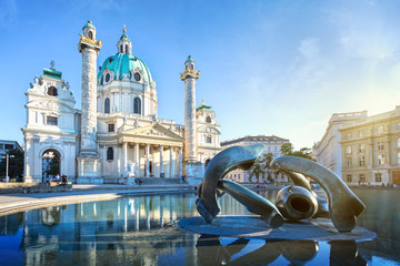 Photo sur Toile Vienne Karlskirche in Vienna, Austria