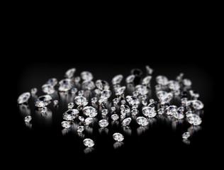 Large group of diamonds on black background