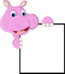 funny hippo cartoon with blank sign