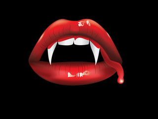 Vampire lips with blood