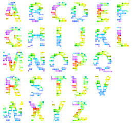 Colorful Modern Square Mosaic Alphabet Letters