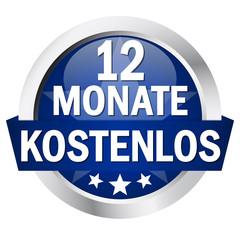"""Button mit Banner """" 12 MONATE KOSTENLOS """""""