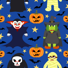Halloween seamless  background with cartoon holiday monster