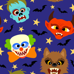 Halloween background seamless with cartoon holiday monster