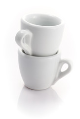 stack of two espresso cups isolated on a white background