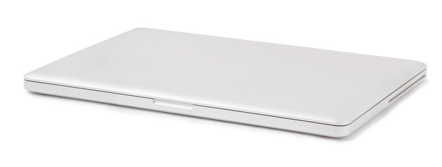 closed laptop isolated on a white background