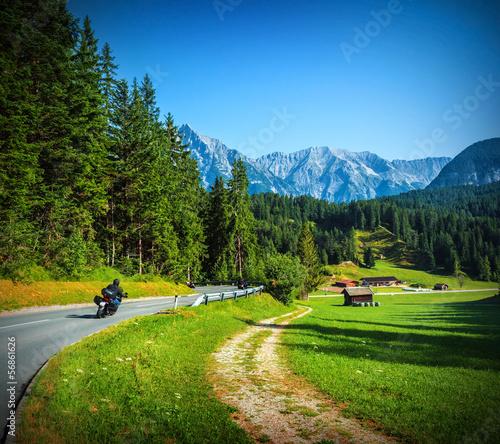 Fototapete Bikers on mountainous road