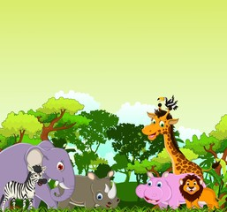 animal cartoon with tropical forest background