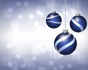 Trio of Blue and Silver Christmas Ornaments on Twinkling Backgro