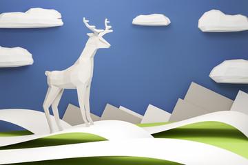 Paper Deer Christmas