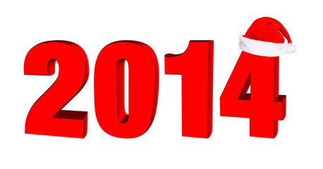 New year 2014, 3D text in a hat of Santa Claus