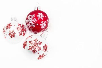 Snowflake Christmas Ornaments On White Background